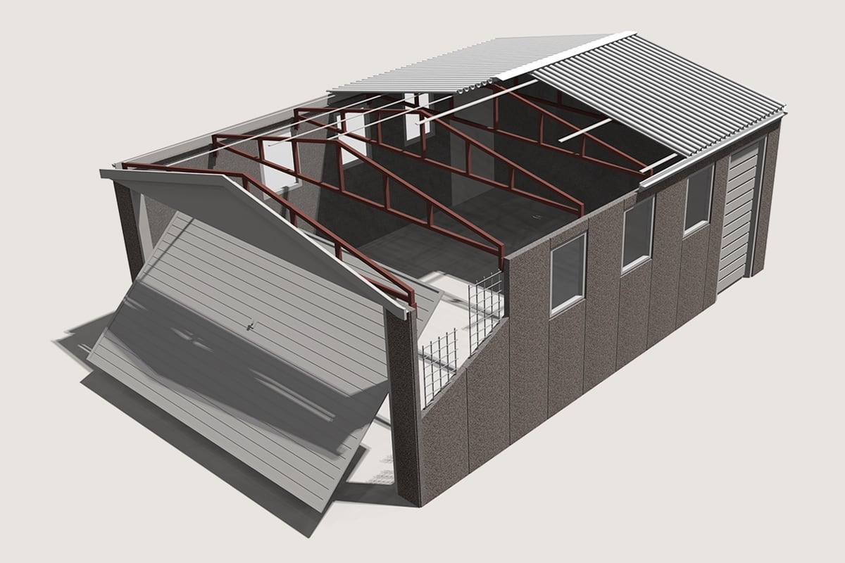 3D render garage illustration