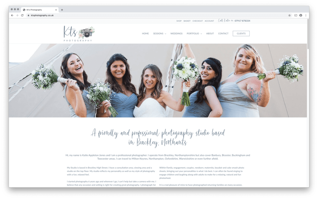 KT's Photography ecommerce web design