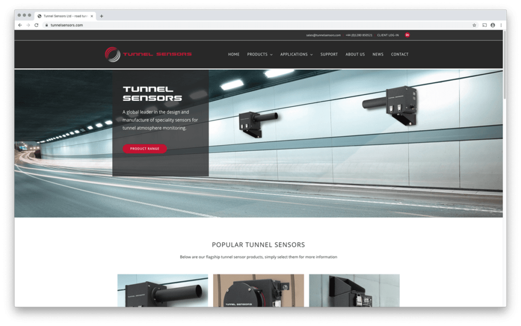 Tunnel Sensors responsive web design